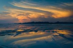 Sunset, Salar de Uyuni salt flats, Bolivia.