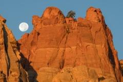 Full moon and sandstone towers, Burr Trail, Utah.