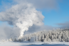 Castle Geyser steams on a bitter cold morning, Yellowstone National Park.