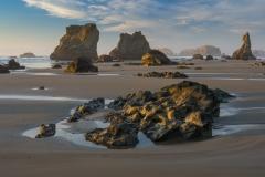 Seastacks and beach at low tide, Oregon.