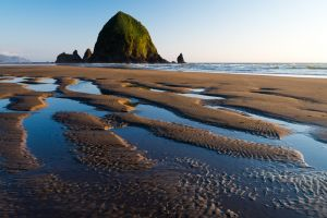 Haystack Rock at low tide, Oregon.