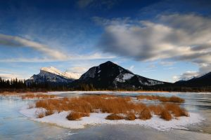 Mt. Rundle and Vermillion Lake, Banff National Park, Alberta.