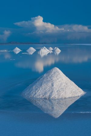 Salt cones on Salar de Uyuni, Bolivia.