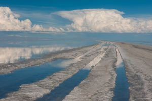 Clouds and reflections, Salar de Uyuni, Bolivia.