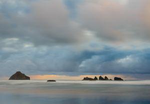 Seastacks and drifting clouds, Oregon.