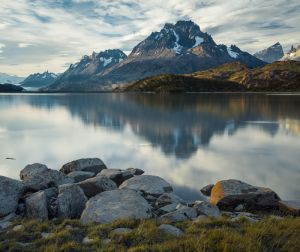 The Grand Paine from Lago Grey, Torres del Paine National Park, Chile.