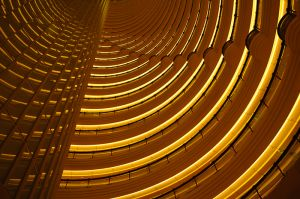 The multi-flored atrium of the Grand Hyatt Hotel, Shanghai, China.