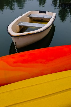 Kayaks and dinghy, Southport, Maine.