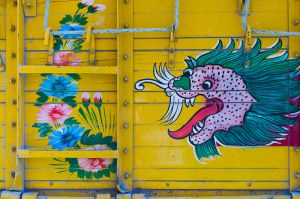 Decoration on truck, Bhutan.