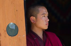 Monk at the National Memorial Chorten in Thimphu, Bhutan.
