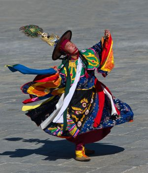 Black Hat dancer at Tsechu festival, Thimphu, Bhutan.