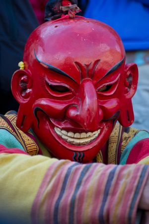 Atsara clown at Tshechu festival in Thimphu, Bhutan.