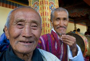 Old men at festival, Bhutan.