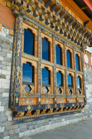 Windows and reflections, at the 108 Stupas on Dochula Pass, Bhutan.