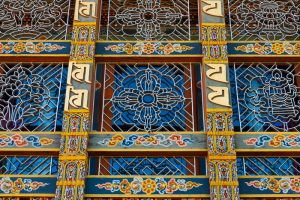 Window decoration at Sangchhen Dorji Lhuendrup lhakhang nunnery, near Punakha, Bhutan.