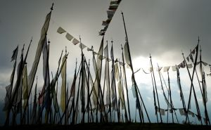 Prayer flags on hilltop, Bhutan.