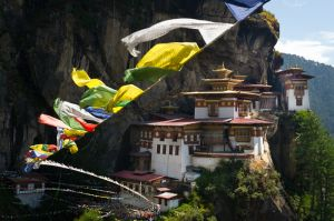 The Tiger's Nest, Takstang Goemba Monestery, and prayer flags, near Paro, Bhutan.