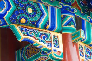 Roof support detail, Zhoushang Pavilion, Jing Shan Park, Beijing.