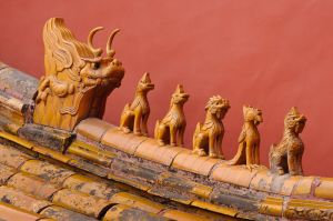 Wenshou roof guardians, in the Forbidden City, Beijing.
