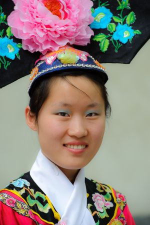 Woman in traditional costume, Beijing.