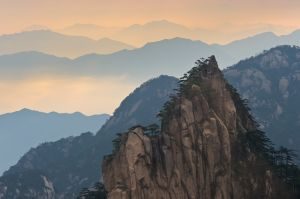 Early morning light and valley clouds, Mt. Huangshan (Yellow Mountain).