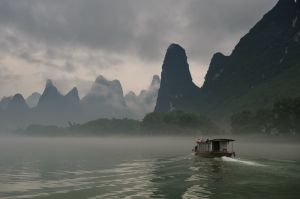 Boat on the Li River; near Xingping, China.