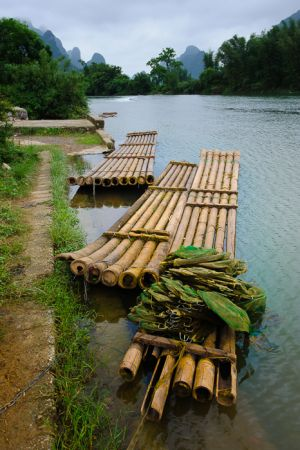 Fishermen's boats made of bamboo, on the Li River near Yangshuo.