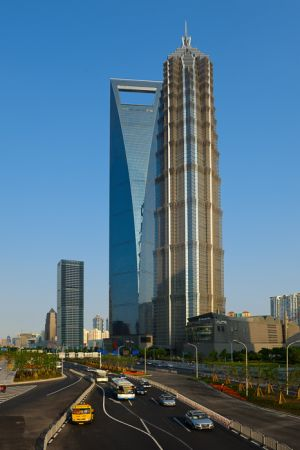 Buildings along Shiji Dadao Road, near the Oriental Pearl Tower, in the Pudong section of Shanghai.