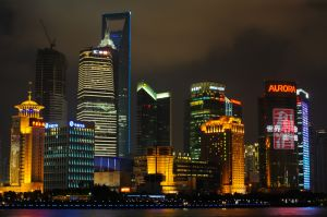 Pudong at night, as seen from the Bund, Shanghai.