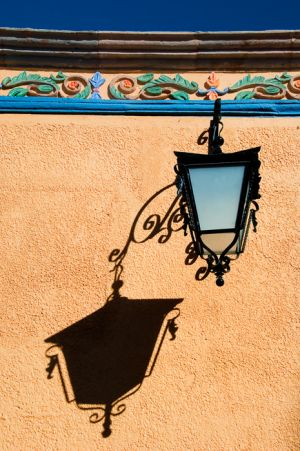Lamp and shadow, Dolores Hildago, Mexico.