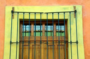 Barred window, Queretaro, Mexico.