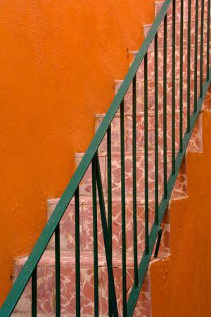Orange stairs, Guanajuato, Mexico.