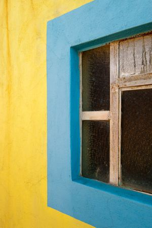 Yellow wall and window, Santa Rosa, Mexico.