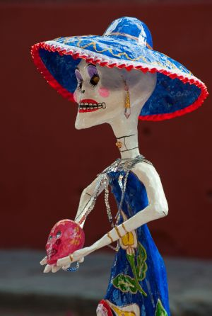 La Calavera de la Catrina paper figure, for Day of the Dead celebration, San Miguel de Allende, Mexico.