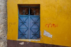 Window and graffiti, Guanajuato, Mexico.