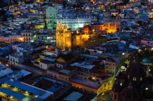 Guanajuato, Mexico, at twilight.  The Basilica of Our Lady of Guanajuato in the center, with the University of Granajuato immediately behind it.