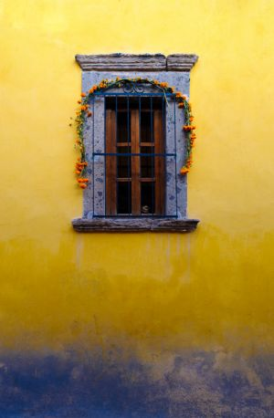 Window with marigolds for Day of the Dead celebration, San Miguel de Allende, Mexico.