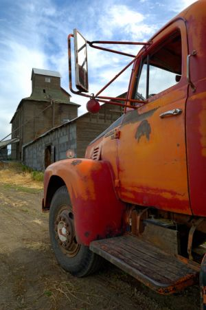 Old truck and abandoned grainery, Washington.