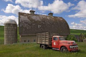 Truck and barn, Whitman County, Washington.