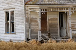 Abadoned house in middle of wheat field, Washington.