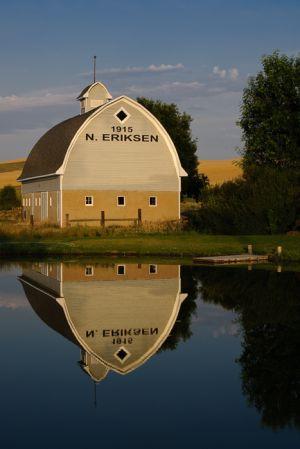 Barn and reflection, near St. Johns, Washington.