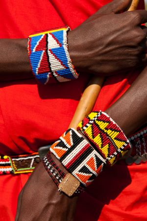 Beaded braclets worn by Masai moran, Kenya.
