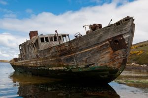 Old grounded hulk, New Island, Falkland Islands.