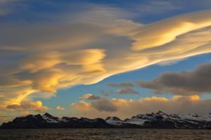 Lenticular clouds, near Hercules Bay, South Georgia Island.