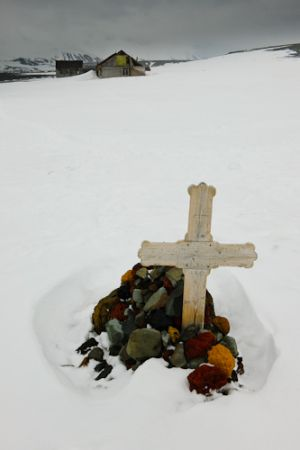 Grave marker at abandoned Norwegian whaling station, Deception Island.