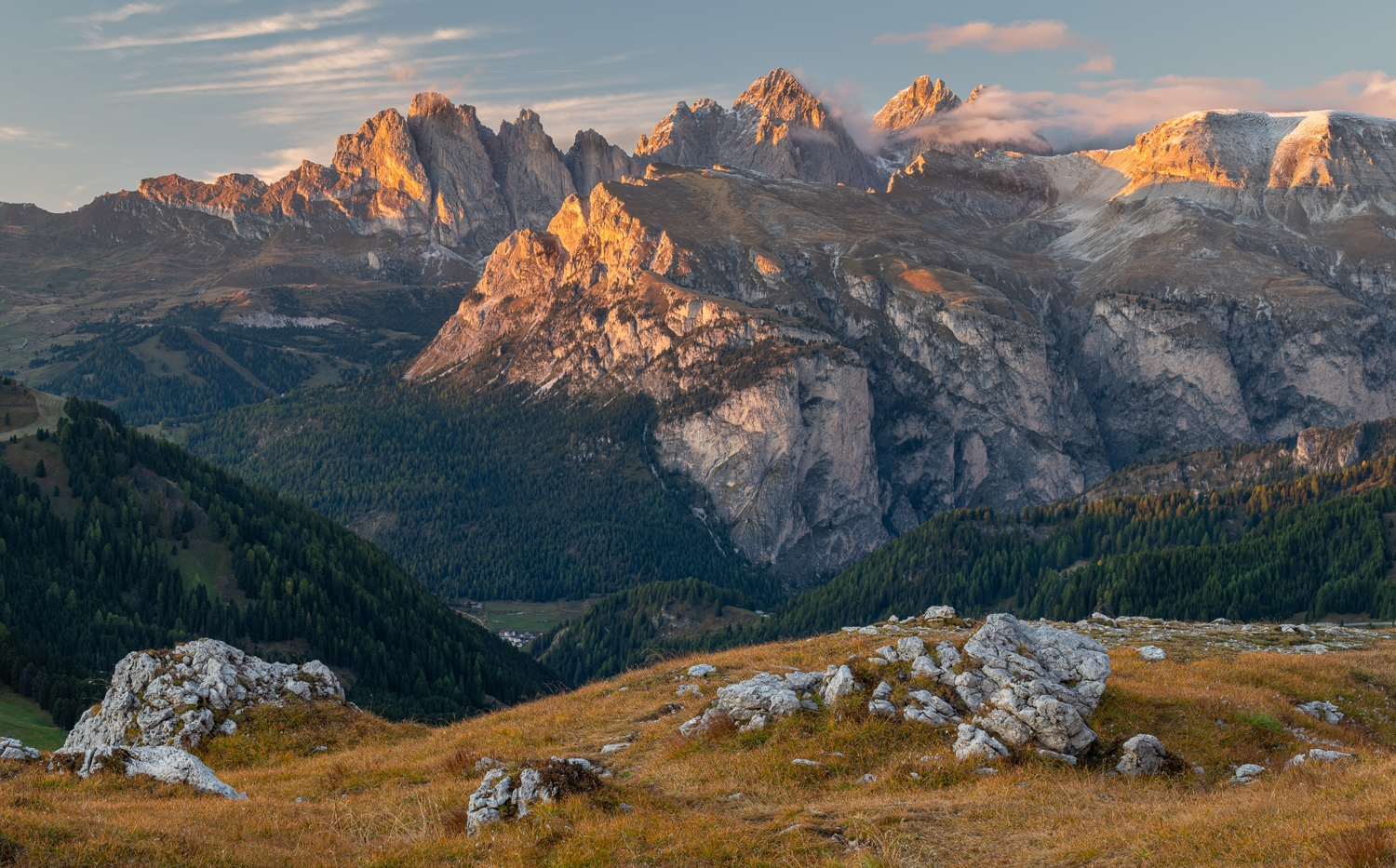 Odie Range seen from Passo Sella, Dolomites, Italy.