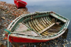 Red boats, Puerto Natales, Chile.