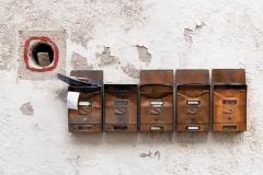 Post boxes, Brixen, Italy.